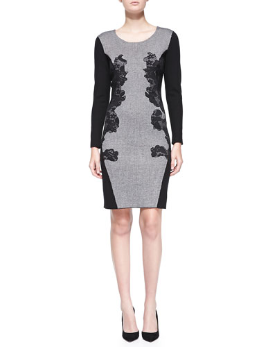 Katherine Barclay Long-Sleeve Lace Applique Dress