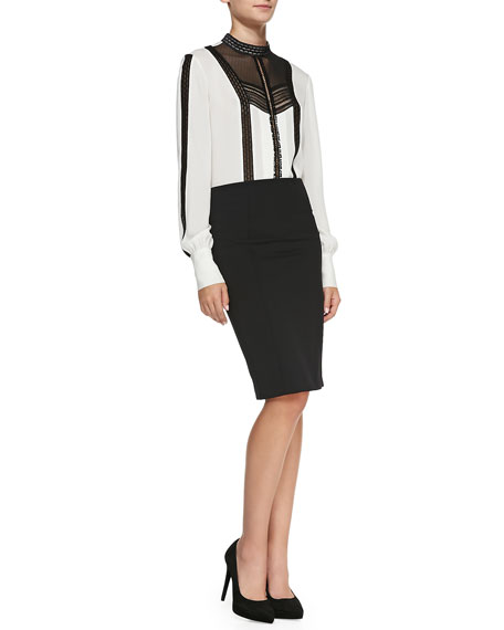 Zip-Back Pencil Skirt