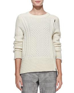 Veronica Beard Fisherman Knit Zip-Detail Sweater
