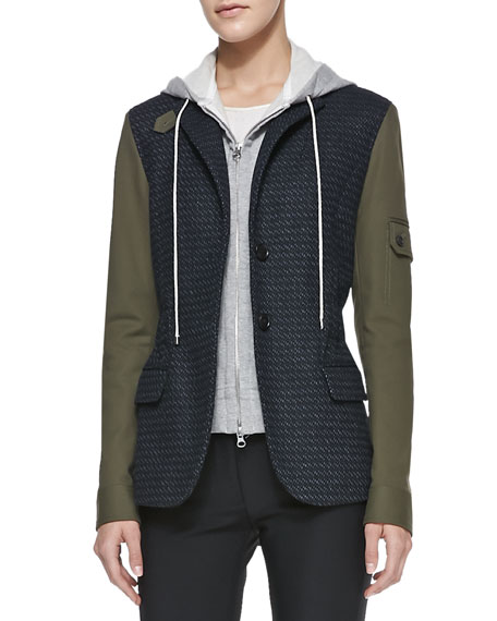 Army-Sleeves Jacket with Removable Hoodie Dickey