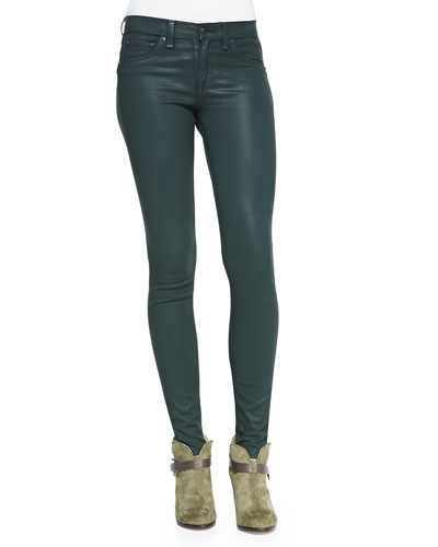 rag & bone/JEAN The Legging Jeans, Coated Green Gables