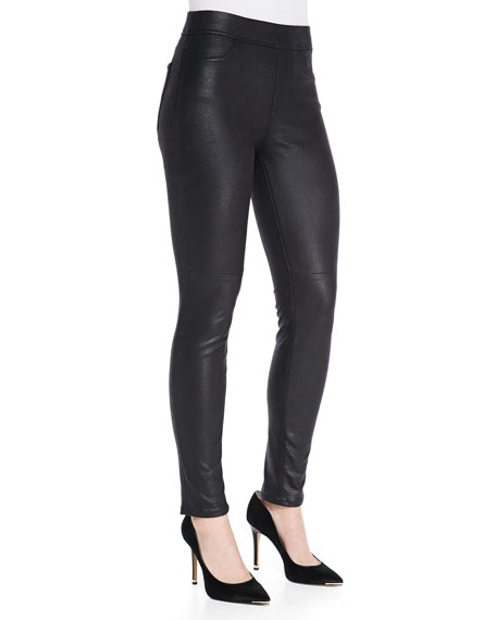 JEN7 Leather-Like Ponte Skinny Jeans