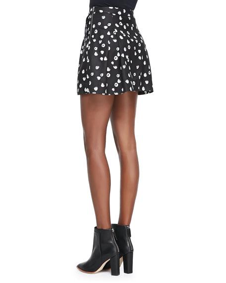 Raspberry-Print Pleated Sateen Skirt