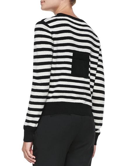 Striped Knit Pocket Cardigan