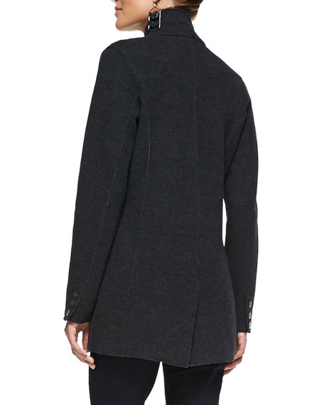 Felted Merino Long Jacket, Charcoal