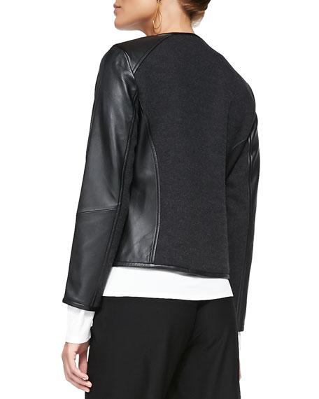 Leather-Trim Merino Short Zip Jacket