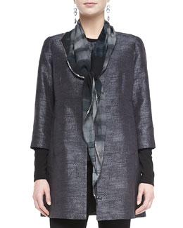 Eileen Fisher Oxidized Printed Silk Scarf, Charcoal
