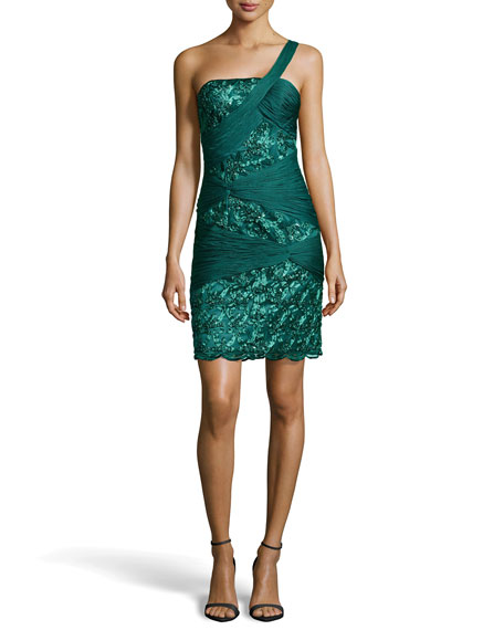 Draped Embellished Sheath Dress, Forest