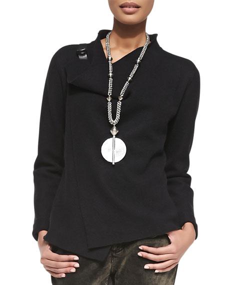 Bias-Twisted Wool Drape Jacket, Black