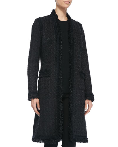 Neiman Marcus Long Tweed Topper w/ Pockets