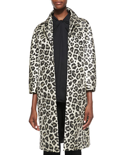 Neiman Marcus 3/4-Sleeve Leopard-Print Topper