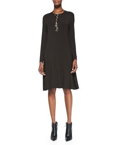 Eileen Fisher Cozy Long-Sleeve A-line Jersey Dress