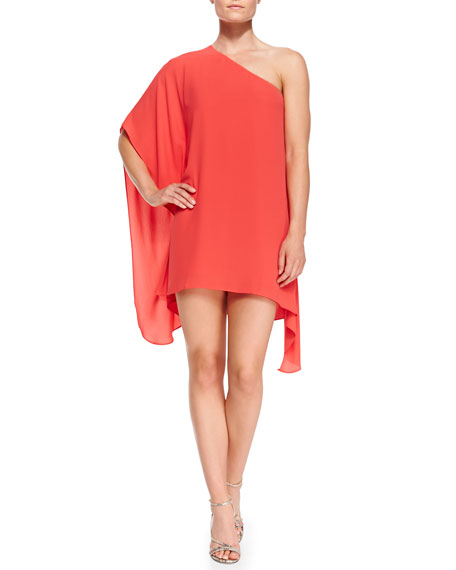 Alana Single-Sleeve Handkerchief Dress, Petite