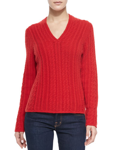 Neiman Marcus Cable-Knit Cashmere V-Neck Sweater, Red