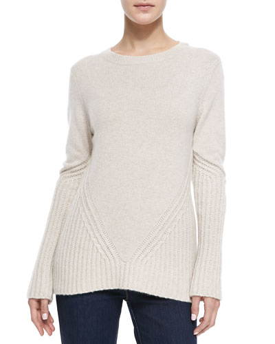 Neiman Marcus Cashmere Sweater w/Ribbed Detail