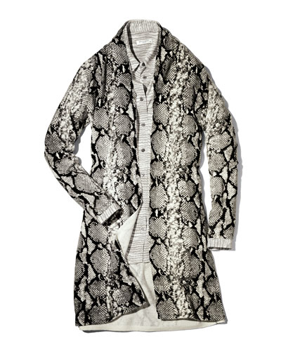 Neiman Marcus Python-Print Cashmere Cardigan, Gray