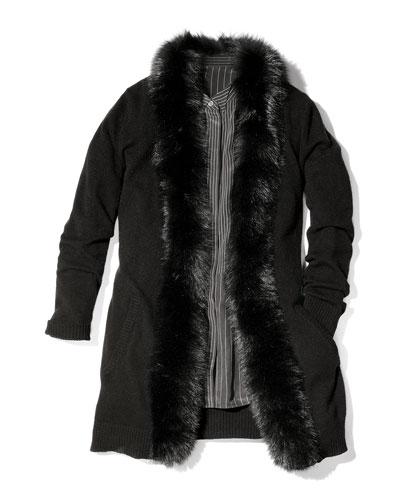 Neiman Marcus Fur-Placket Cashmere Cardigan