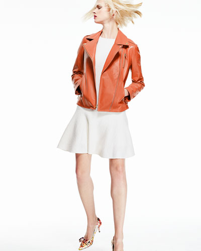 Neiman Marcus Asymmetric-Zip Leather Moto Jacket