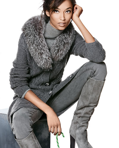 Neiman Marcus Long Fur-Collar Cable-Knit Cashmere Cardigan