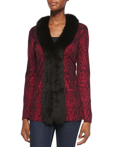 Neiman Marcus Python-Print Fur-Trim Cardigan