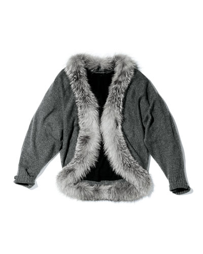Neiman Marcus Long-Sleeve Fur-Trim Cardigan
