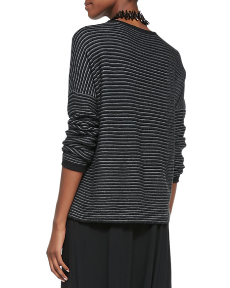 Striped Cotton-Alpaca Box Top, Black