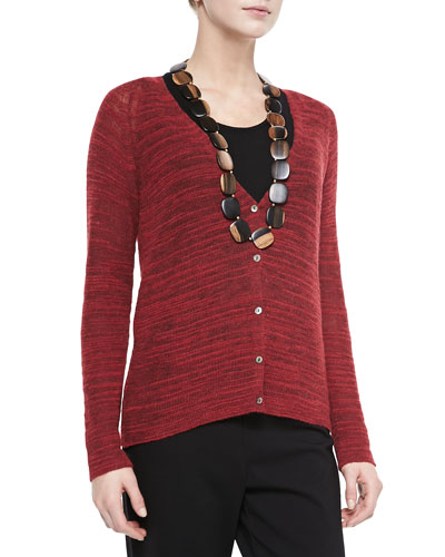 Eileen Fisher Slub-Knit V-Neck Cardigan