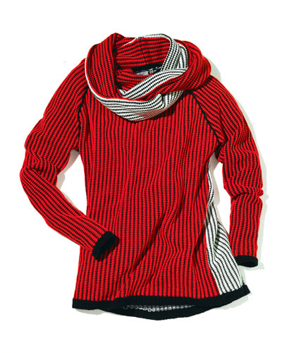 Lisa Todd Color Block Sweater with Infinity Scarf