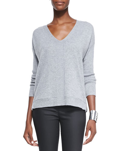 Eileen Fisher V-Neck Cashmere Wedge Top, Moon