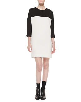 Vince Colorblock Bracelet-Sleeve Dress