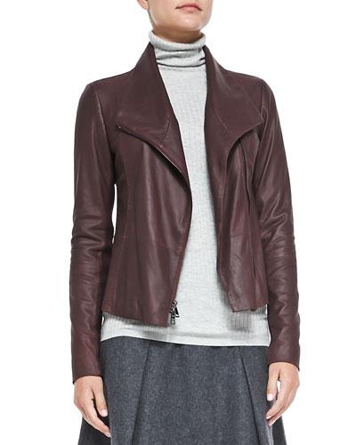 Vince Leather Scuba Jacket, Shiraz