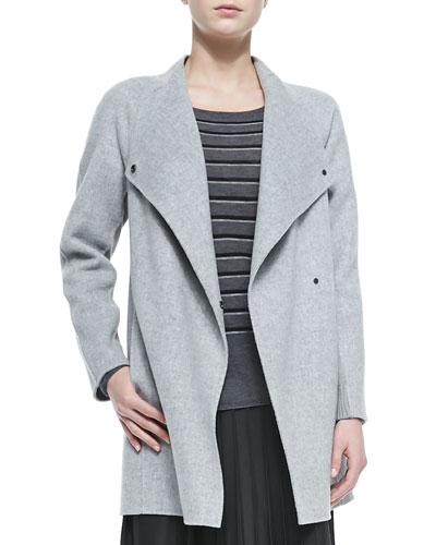 Vince Sweater-Back Drape-Neck Coat