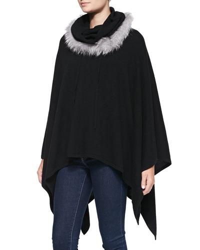 Neiman Marcus Cashmere Fur-Trimmed Cowl Poncho