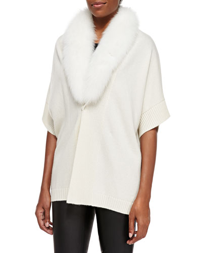 Neiman Marcus Short-Sleeve Fur-Trim Tunic Top