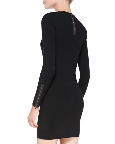 Noemie Leather-Trim Long-Sleeve Fitted Knit Dress