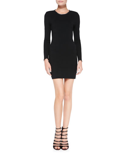 J Brand Ready to Wear Noemie Leather-Trim Long-Sleeve Fitted Knit Dress