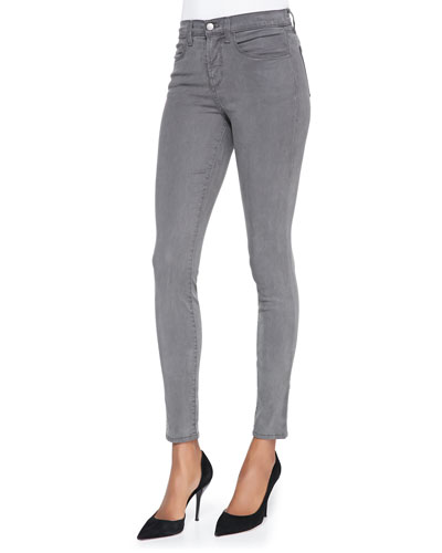 J Brand Jeans 485 Mid-Rise Sateen Skinny Pants, Armour