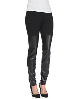 DKNY Faux-Leather Jersey Leggings