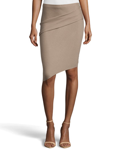 Tuck-Detailed Asymmetric Pencil Skirt, Fossil