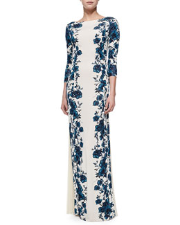 Tory Burch Stacy Floral-Print Gown