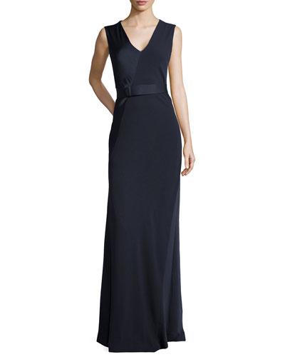 Sleeveless V-Neck Satin Gown, Navy