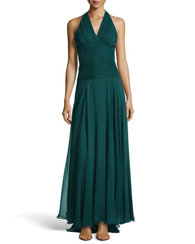 Ruched Crepe Halter Gown, Moss