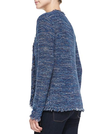 Neiman Marcus Hook-Front Fringed Tweed Jacket