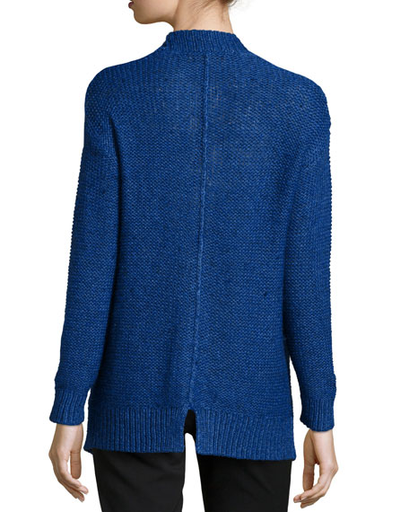 Chain Knit Open-Front Cardigan, Indigo