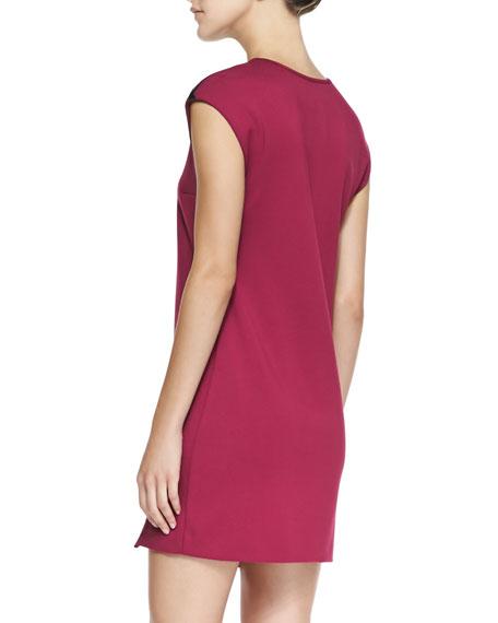Knit Cap-Sleeve Side-Zip Dress