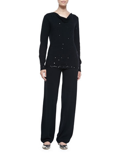 Neiman Marcus Cashmere Scattered Sequin Sweater