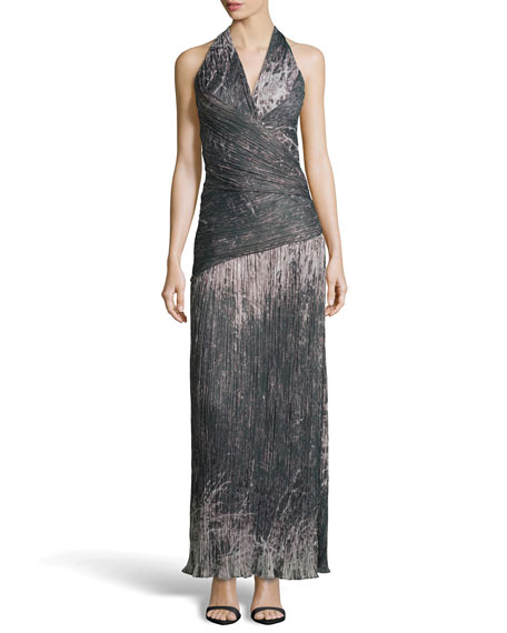 Halter Printed Voile Gown, Moss
