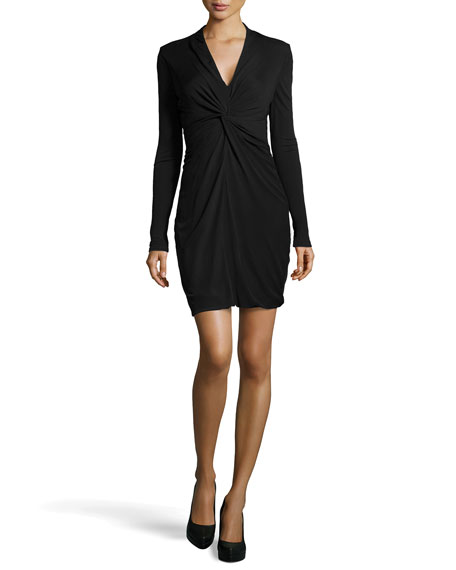 Long-Sleeve Stretch Wrap Dress, Black