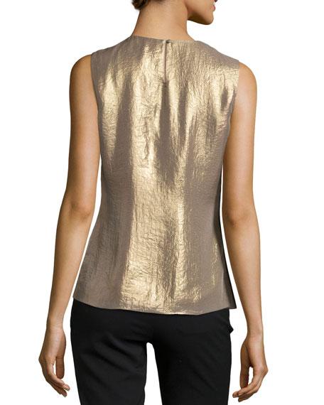Halston Heritage Sleeveless Pleated Shimmer Top, Gold