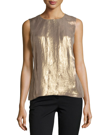 Halston Heritage Sleeveless Pleated Shimmer Top, Gold
